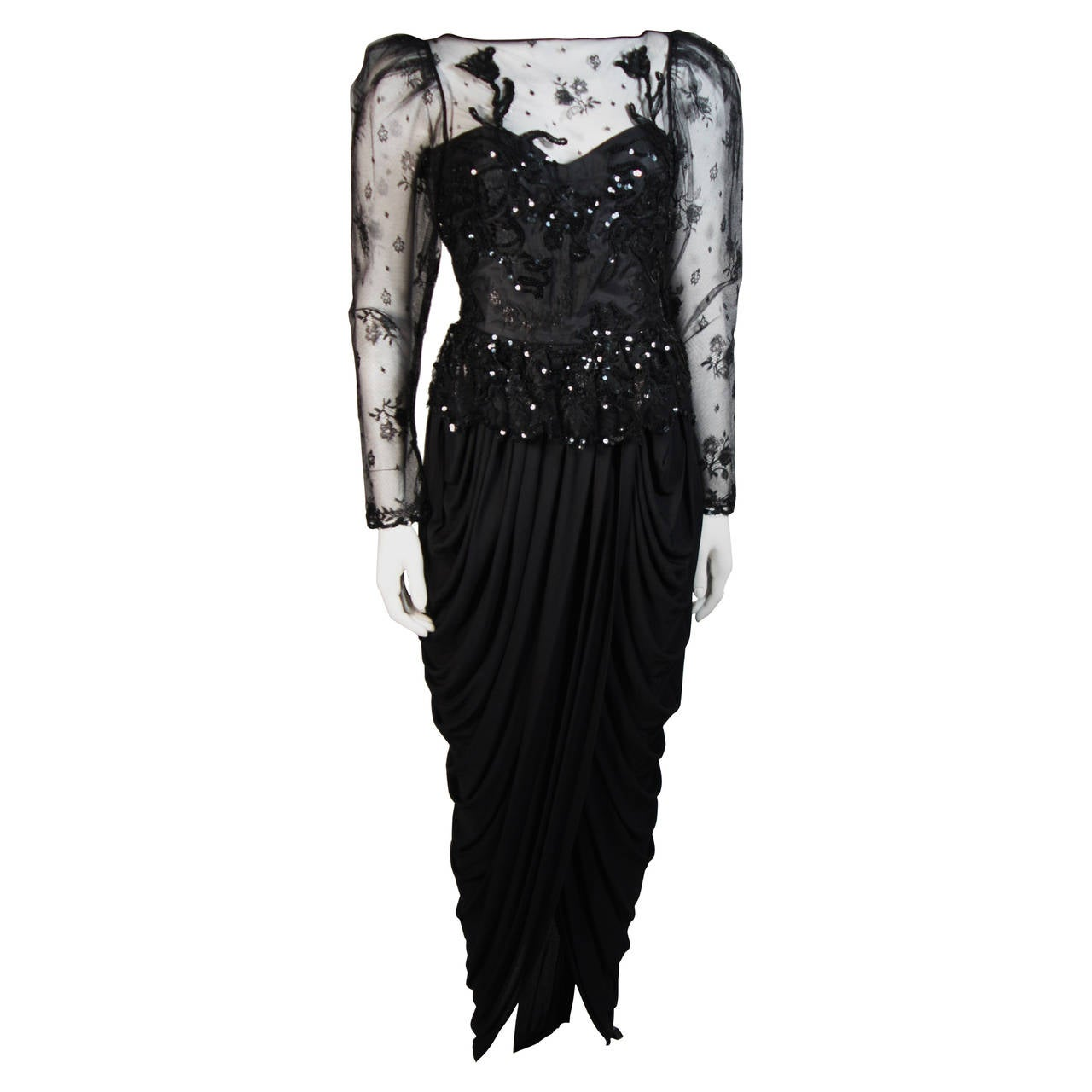 Vicky Tiel Black Lace and Jersey Gown Size 38