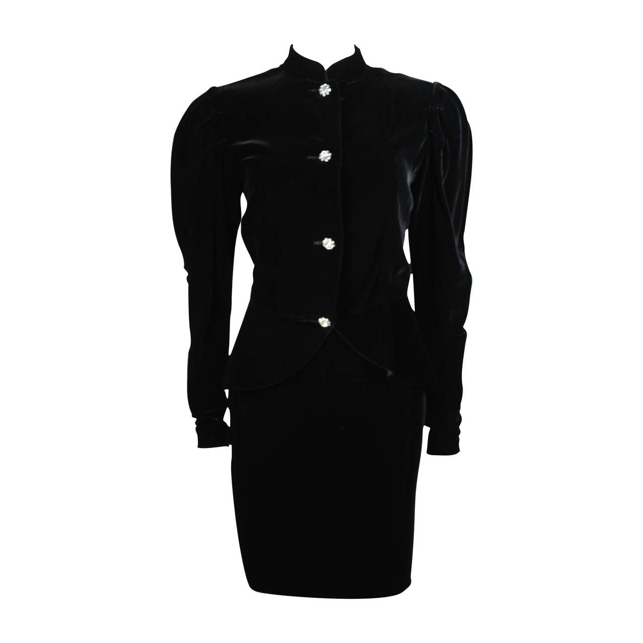 Vicky Tiel Black Velvet Skirt Suit with Rhinestone Buttons Size Small For Sale