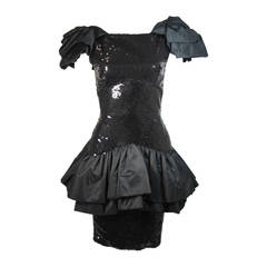 Vicky Tiel Black Sequin Cocktail Dress with Dramatic Gathers Size 38