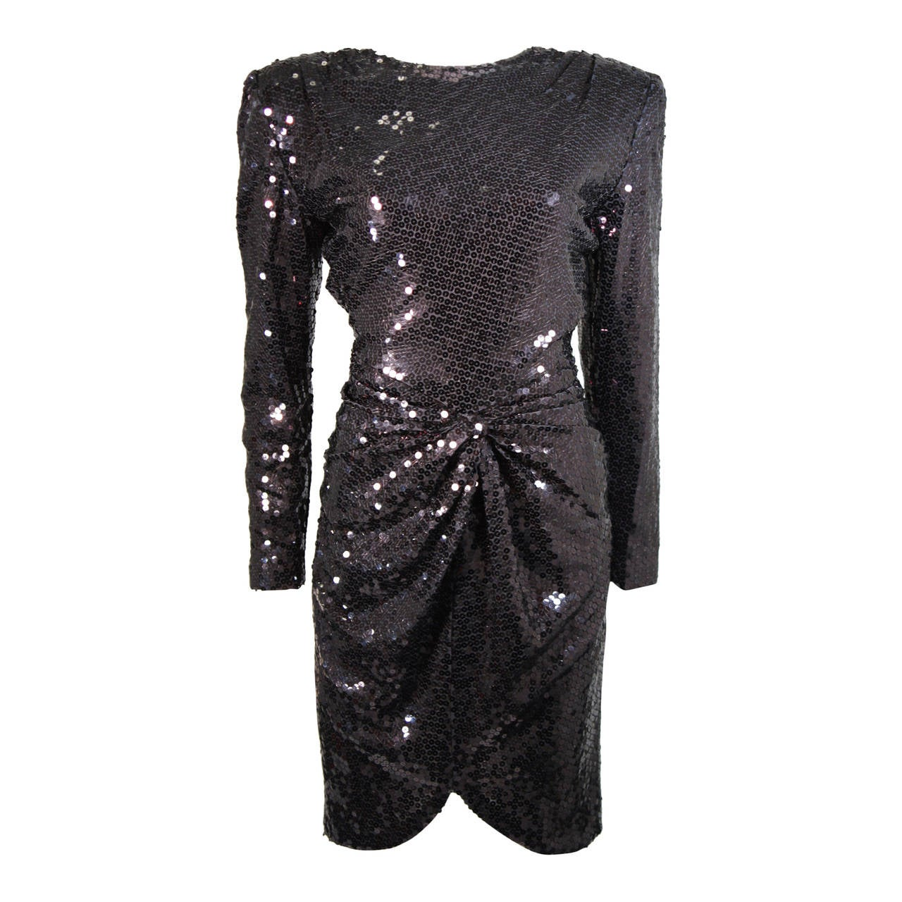 Vicky Tiel Black Iridescent Sequin Cocktail Dress Size 38 1