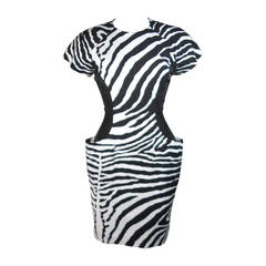 Vicky Tiel Black and White Zebra Patterned Cocktail Dress Size Small