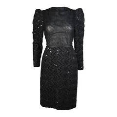 Vicky Tiel Attributed Black Sequin Cocktail Dress Size Small