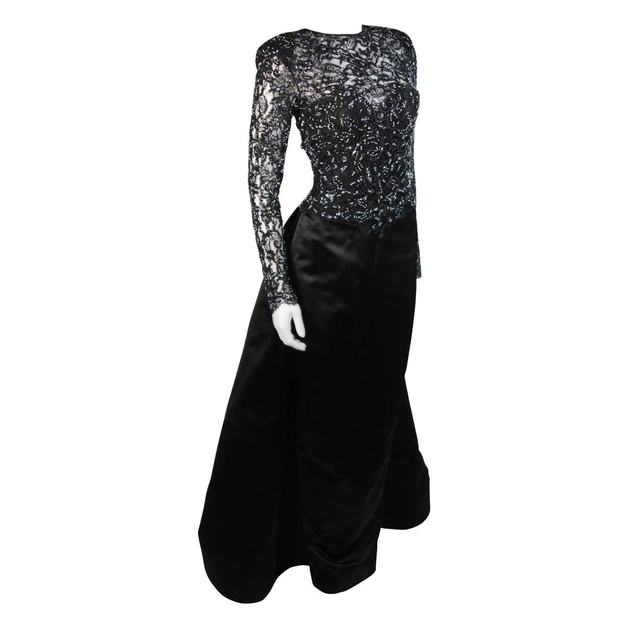 Vicky Tiel Black Embellished Lace Gown With Silk Skirt Size Small 1