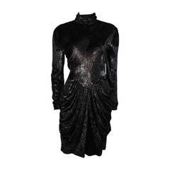 Vicky Tiel Black Metallic Panne Velvet Cocktail Dress with Drape Skirt Small