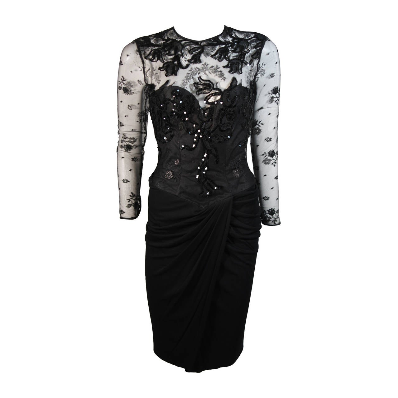 Vicky Tiel Black Lace Cocktail Dress with Draped Jersey Skirt Size Small