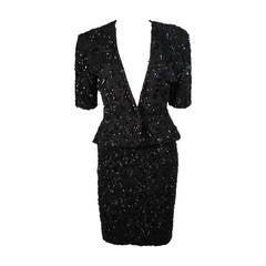Vicky Tiel Black Beaded Skirt Suit Size 38