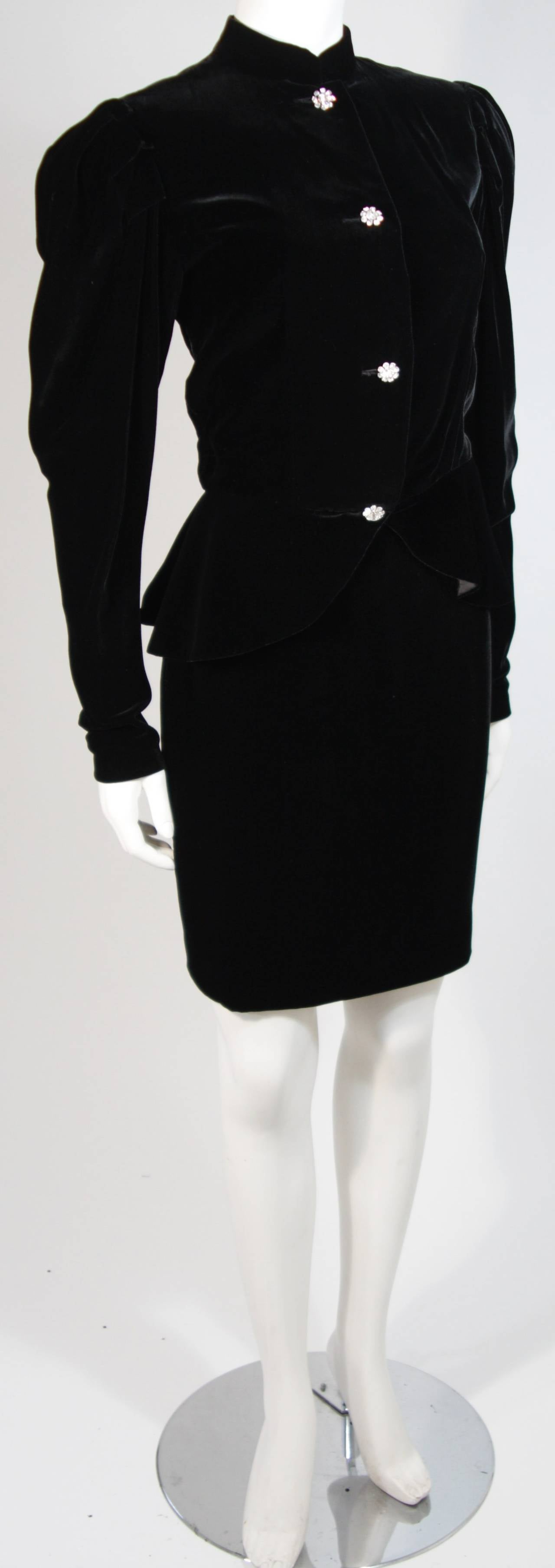 Vicky Tiel Black Velvet Skirt Suit with Rhinestone Buttons Size Small In Excellent Condition For Sale In Los Angeles, CA