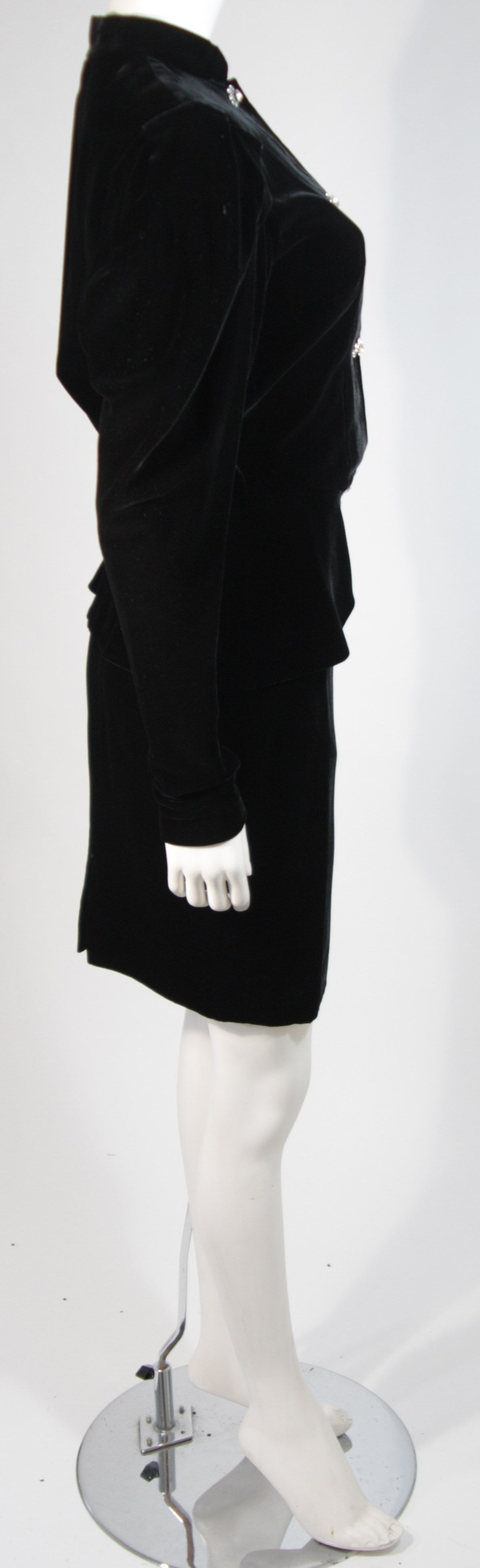 Women's Vicky Tiel Black Velvet Skirt Suit with Rhinestone Buttons Size Small For Sale