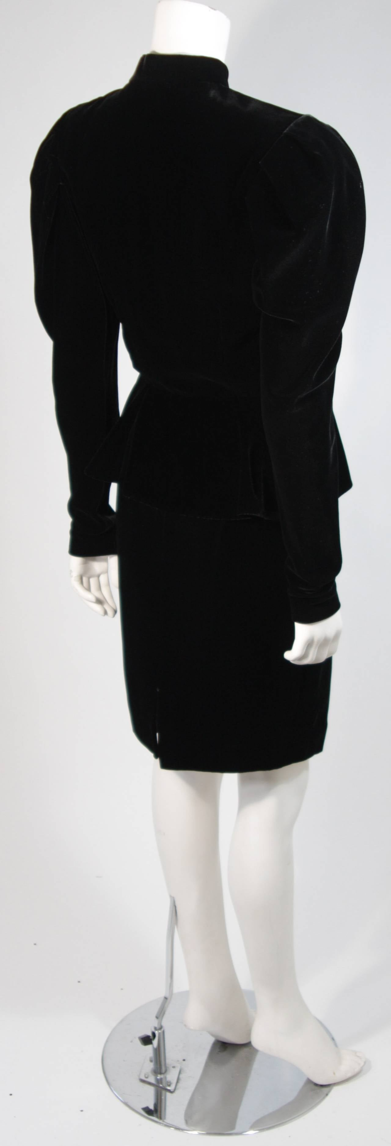 Vicky Tiel Black Velvet Skirt Suit with Rhinestone Buttons Size Small For Sale 1