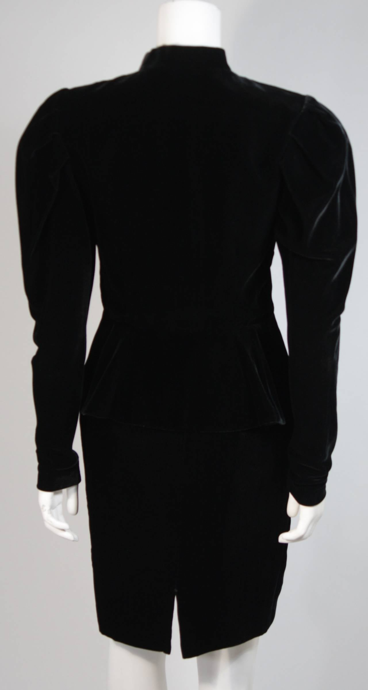 Vicky Tiel Black Velvet Skirt Suit with Rhinestone Buttons Size Small For Sale 2