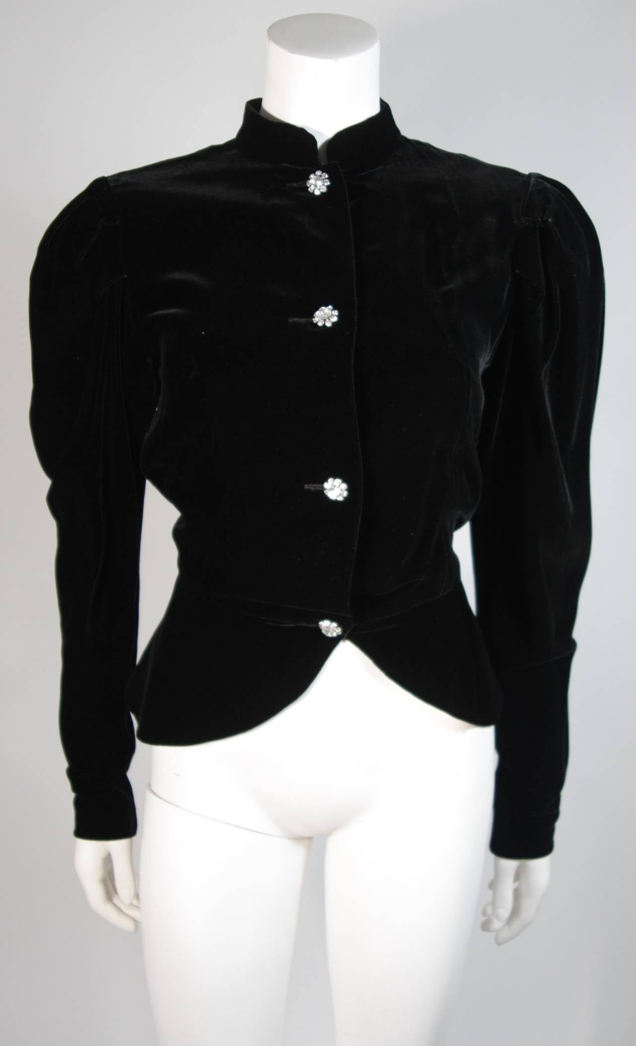 Vicky Tiel Black Velvet Skirt Suit with Rhinestone Buttons Size Small For Sale 3
