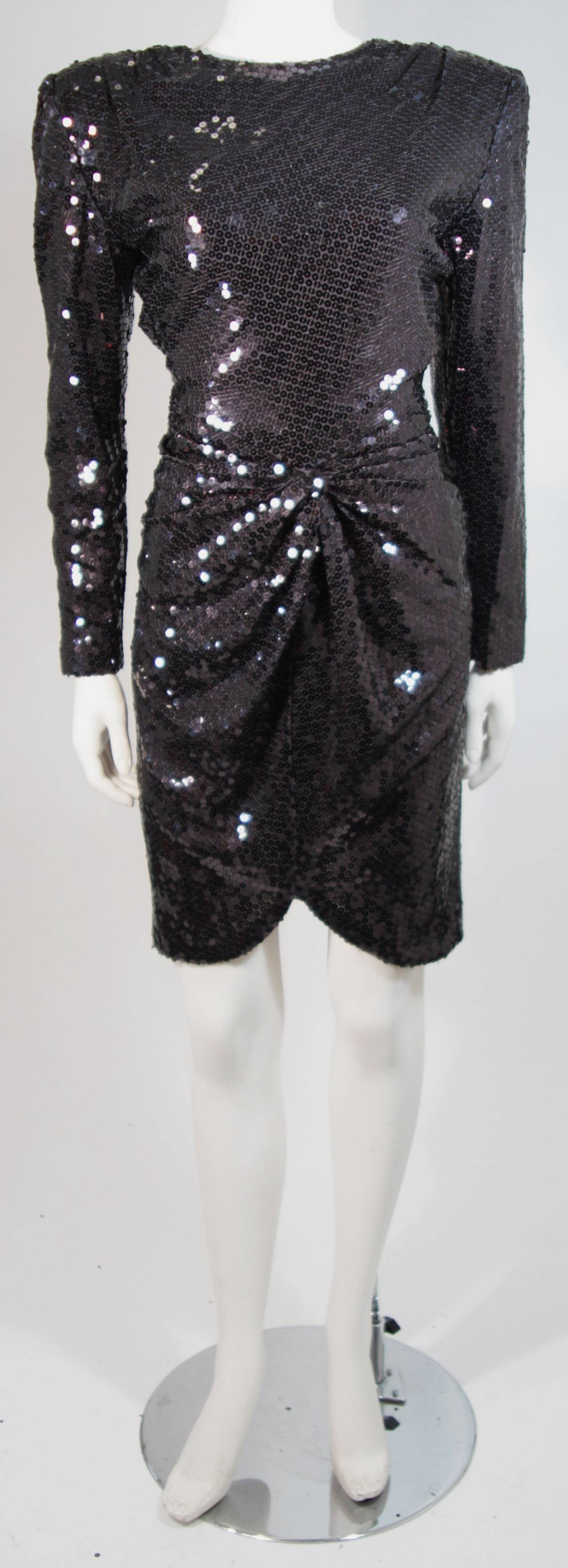 Vicky Tiel Black Iridescent Sequin Cocktail Dress Size 38 2