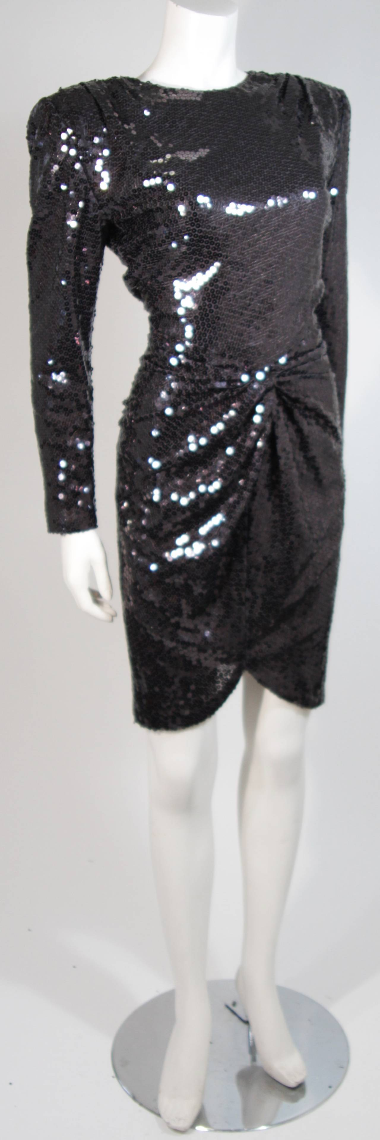 Vicky Tiel Black Iridescent Sequin Cocktail Dress Size 38 4