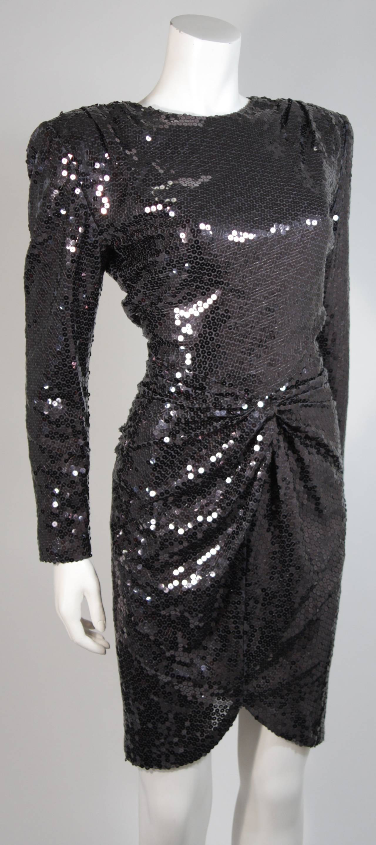 Vicky Tiel Black Iridescent Sequin Cocktail Dress Size 38 5