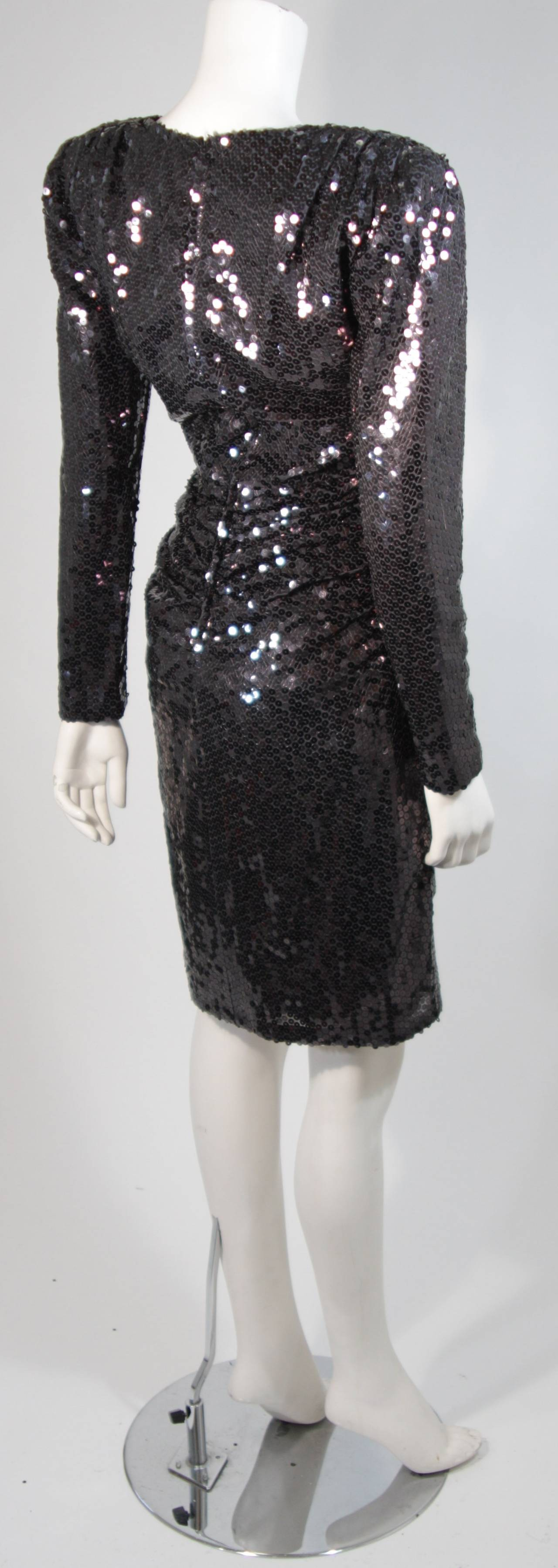 Vicky Tiel Black Iridescent Sequin Cocktail Dress Size 38 7