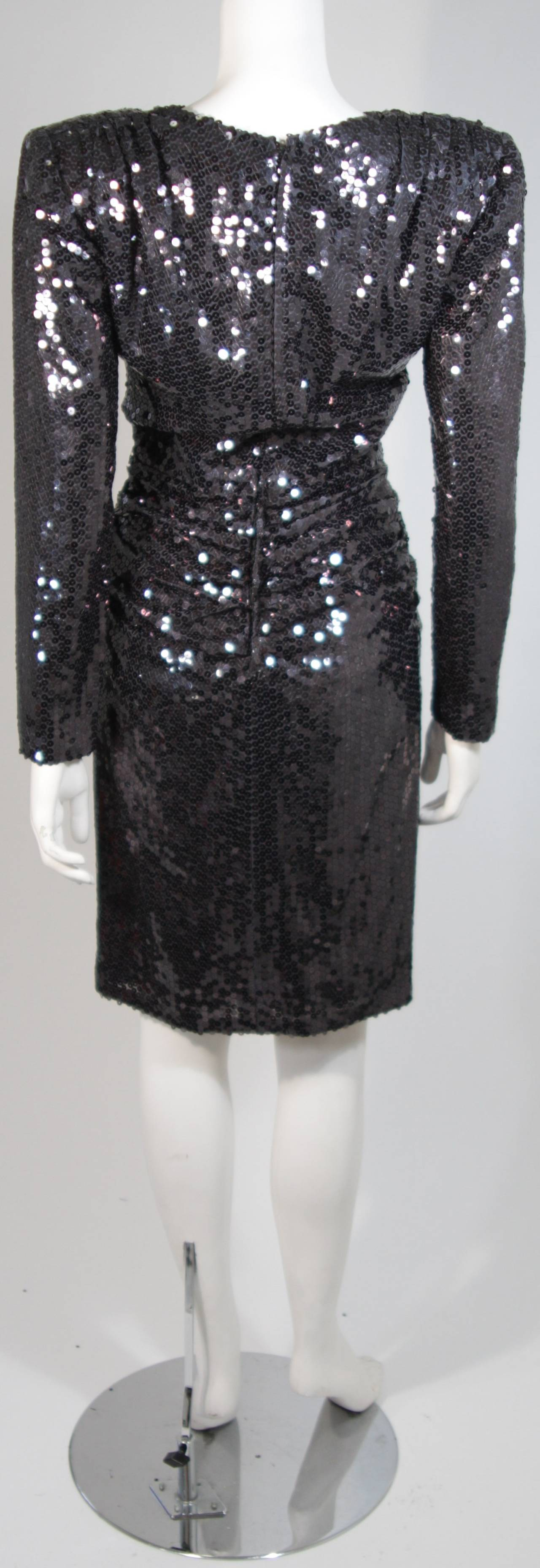 Vicky Tiel Black Iridescent Sequin Cocktail Dress Size 38 8