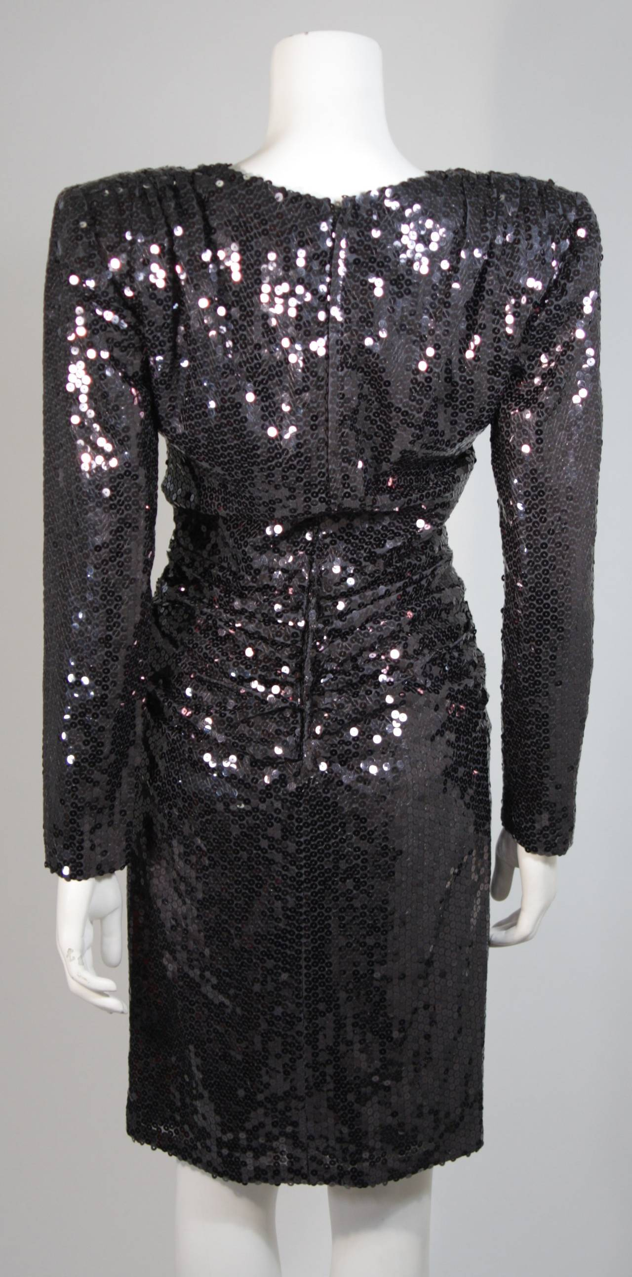 Vicky Tiel Black Iridescent Sequin Cocktail Dress Size 38 9