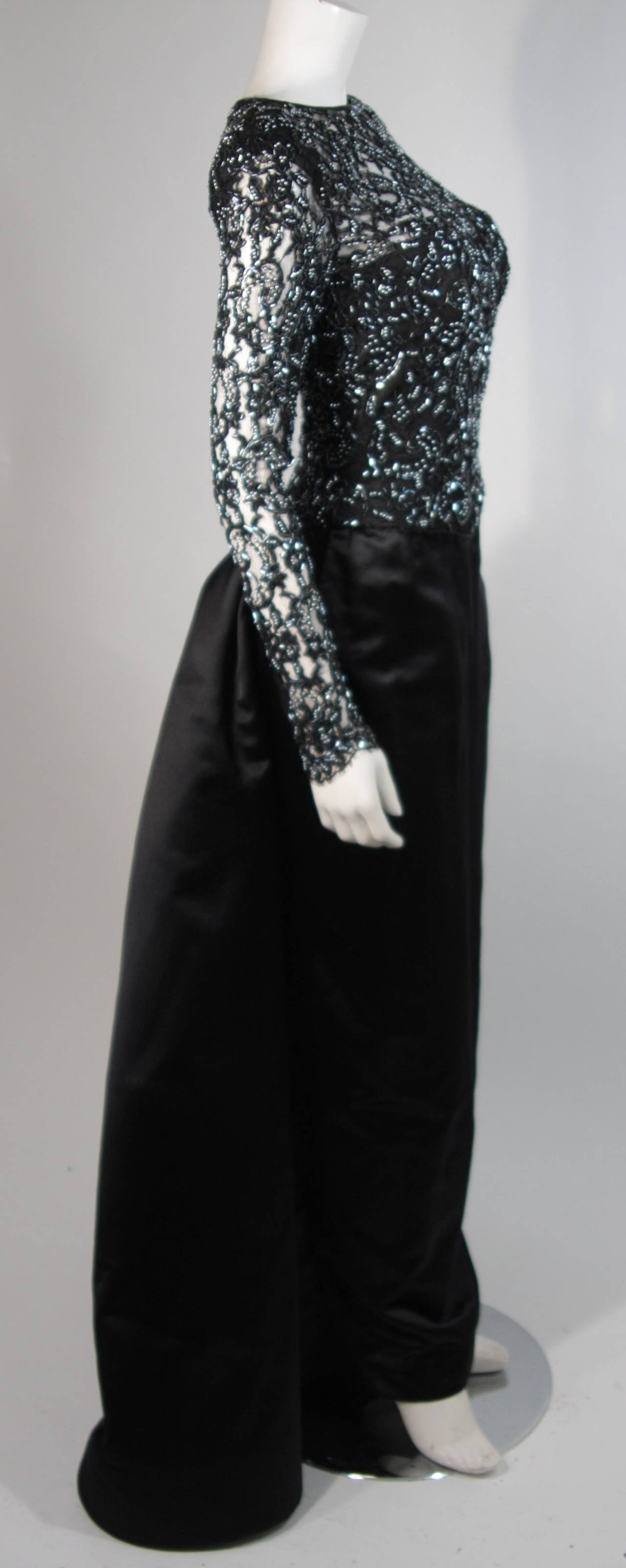 Women's Vicky Tiel Black Embellished Lace Gown With Silk Skirt Size Small For Sale