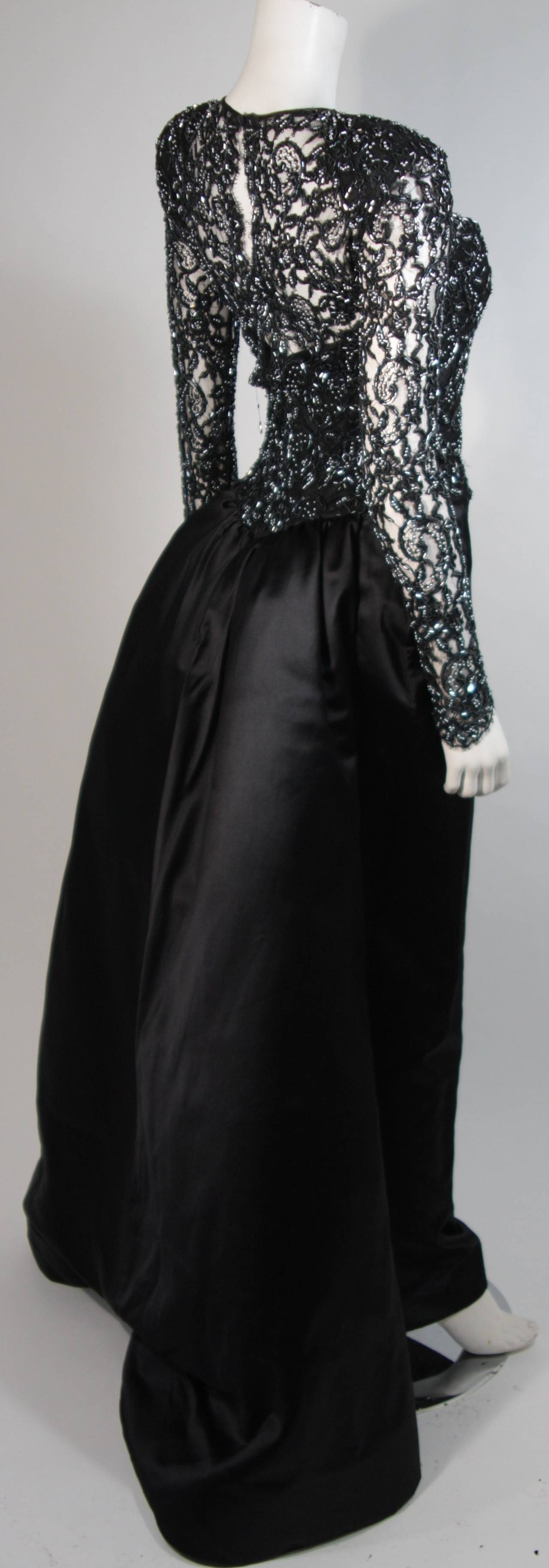 Vicky Tiel Black Embellished Lace Gown With Silk Skirt Size Small 5