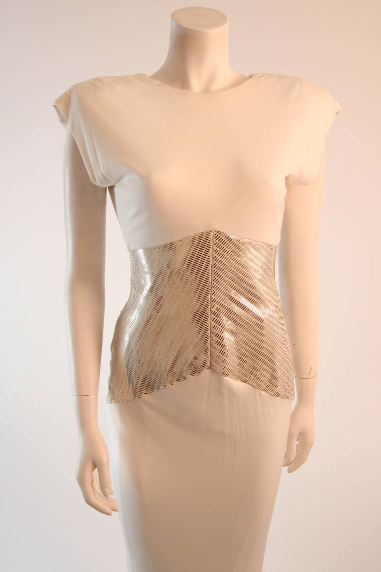 Vicky Tiel Futurism White Column Gown with Metallic Waist Detail 4-6 3