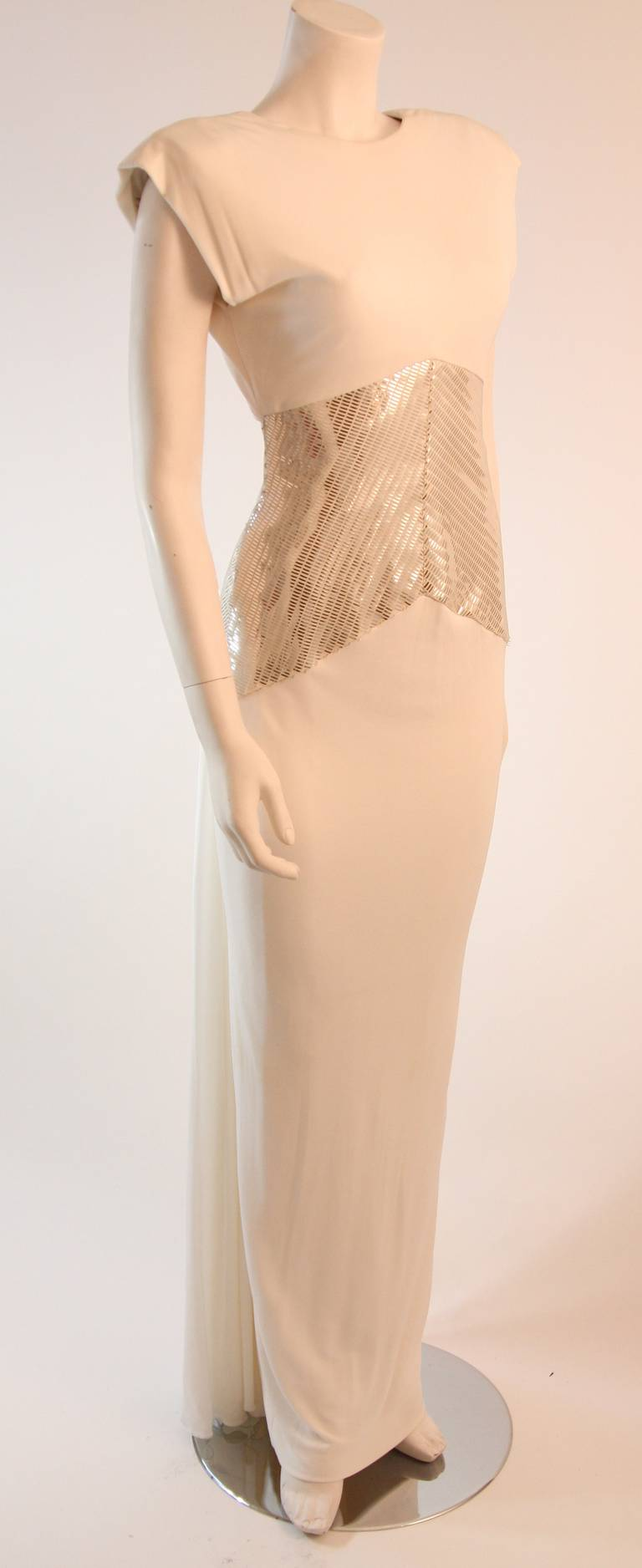 Vicky Tiel Futurism White Column Gown with Metallic Waist Detail 4-6 2