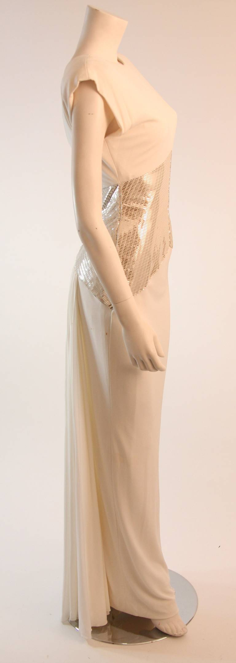 Vicky Tiel Futurism White Column Gown with Metallic Waist Detail 4-6 7