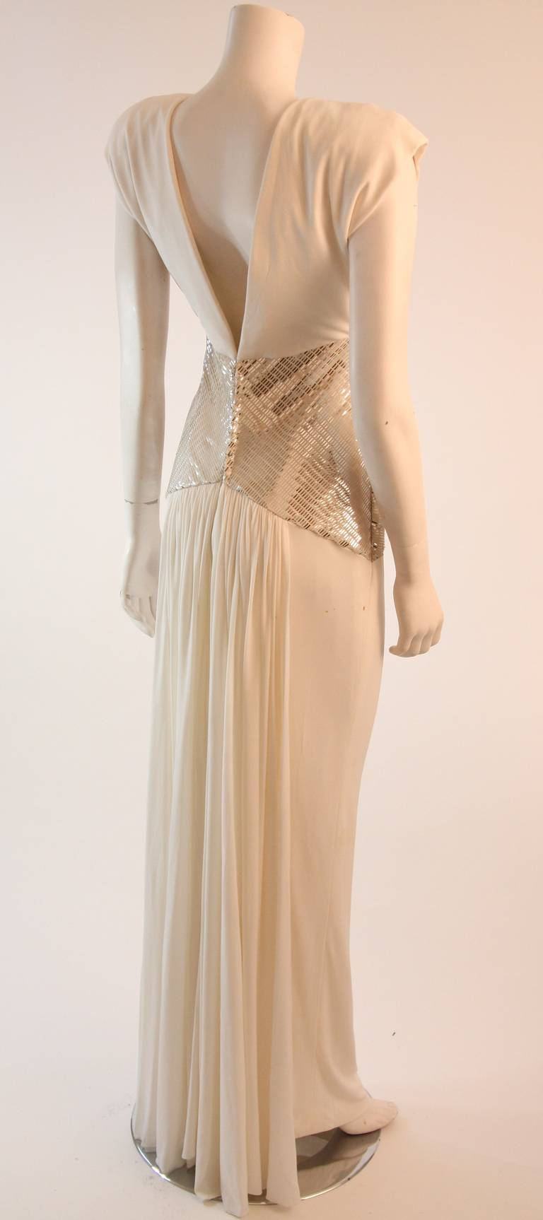 Vicky Tiel Futurism White Column Gown with Metallic Waist Detail 4-6 8