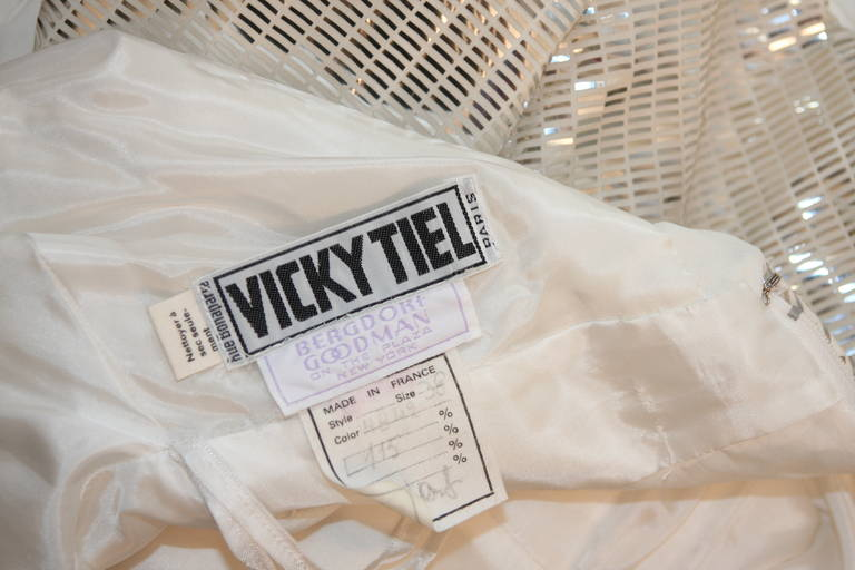 Vicky Tiel Futurism White Column Gown with Metallic Waist Detail 4-6 10