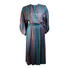 bfc5ce5dd Yves Saint Laurent Silk Skirt and Blouse Ensemble with Vertical Stripes Size  40