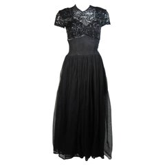 Ceil Chapman Attributed Black Gown with Beaded Bodice Size Small