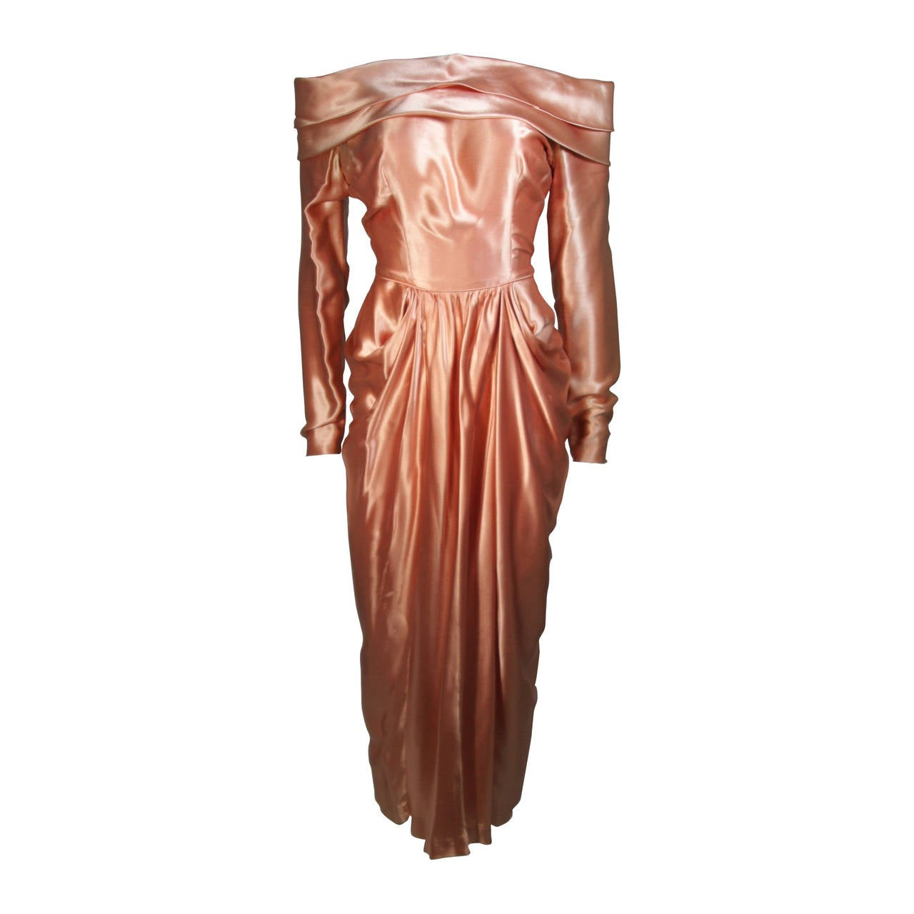 Ceil Chapman Draped Silk Gown in a Peach Champagne Hue Size 4-6 For Sale