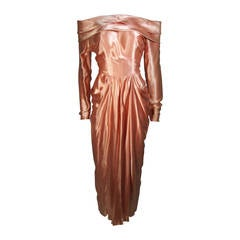 Ceil Chapman Draped Silk Gown in a Peach Champagne Hue Size 4-6