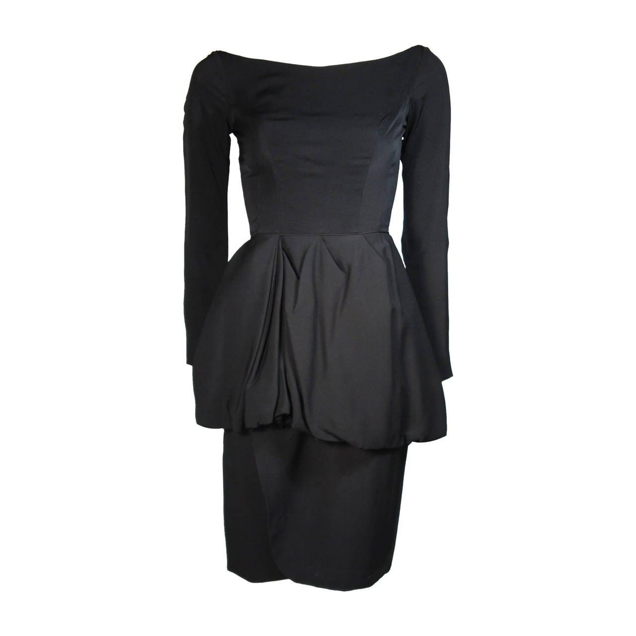 Ceil Chapman Black Draped Princess Seam Peplum Style Waist Dress Size XS 1