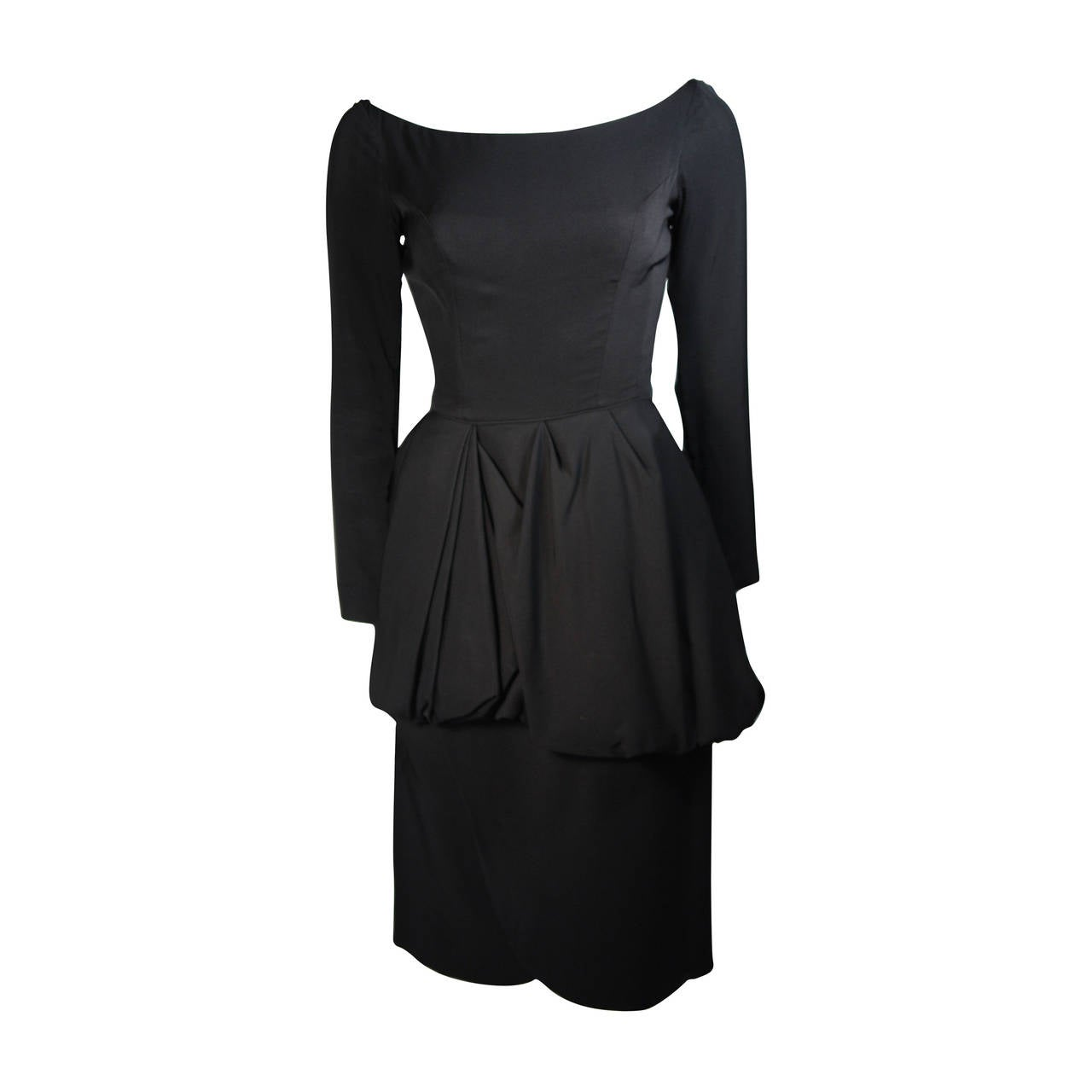 Ceil Chapman 1950's Black Cocktail Dress with Draped Peplum Detail Size Small