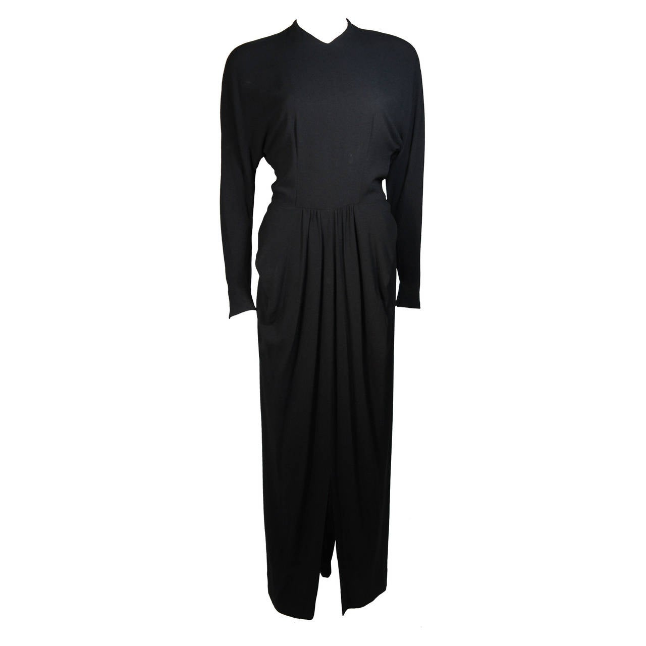 Ceil Chapman Draped Black Silk Crepe Gown Size Small