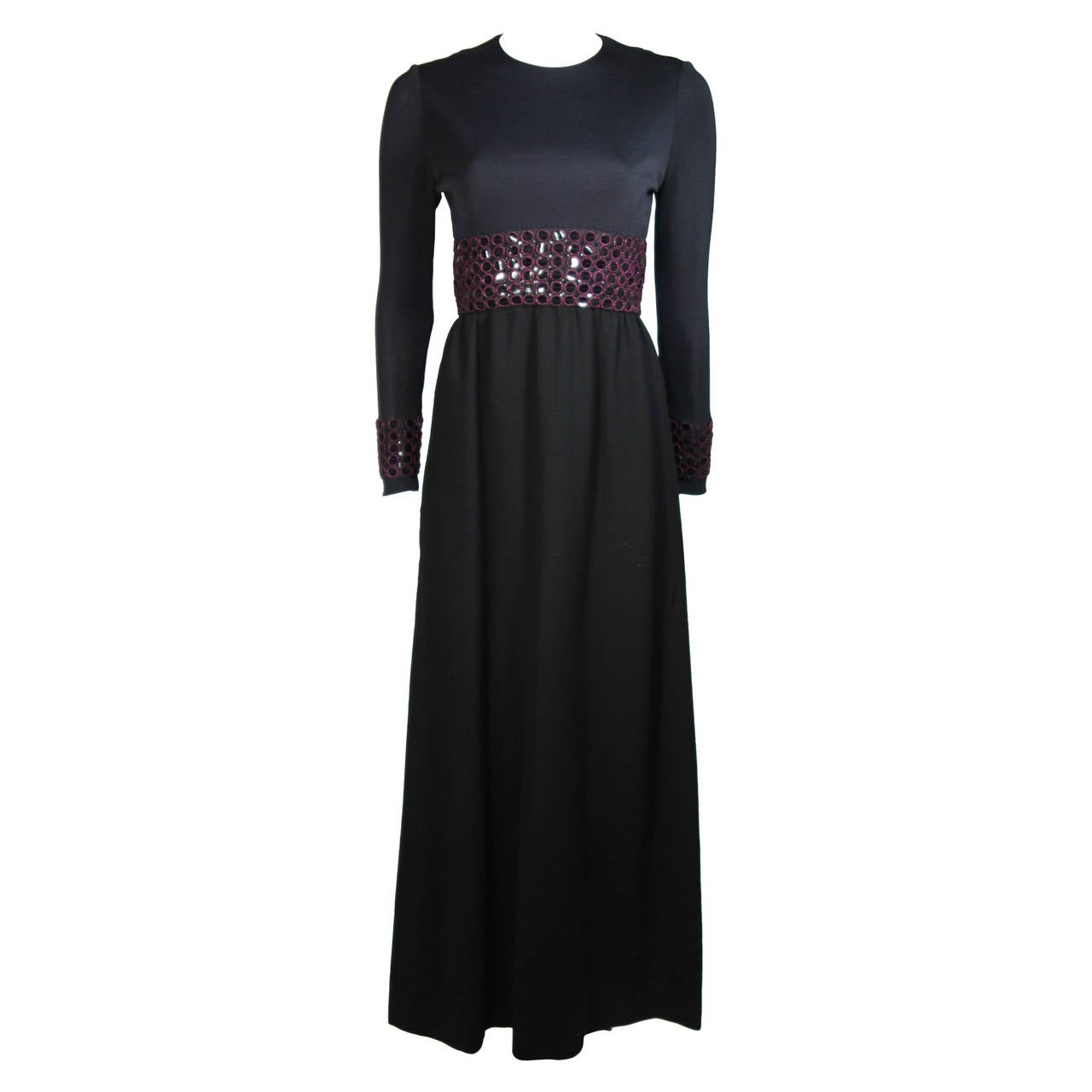 Chester Weinberg Black Long Sleeve Gown With Beaded Waist Size S M 1