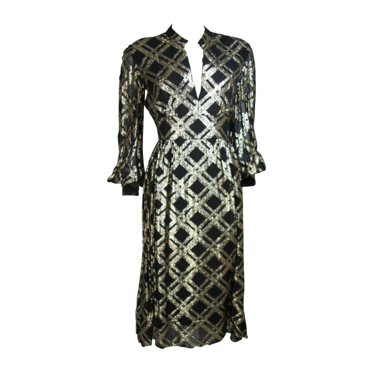 Ceil Chapman Black Silk and Gold Lame Cocktail Dress Size M