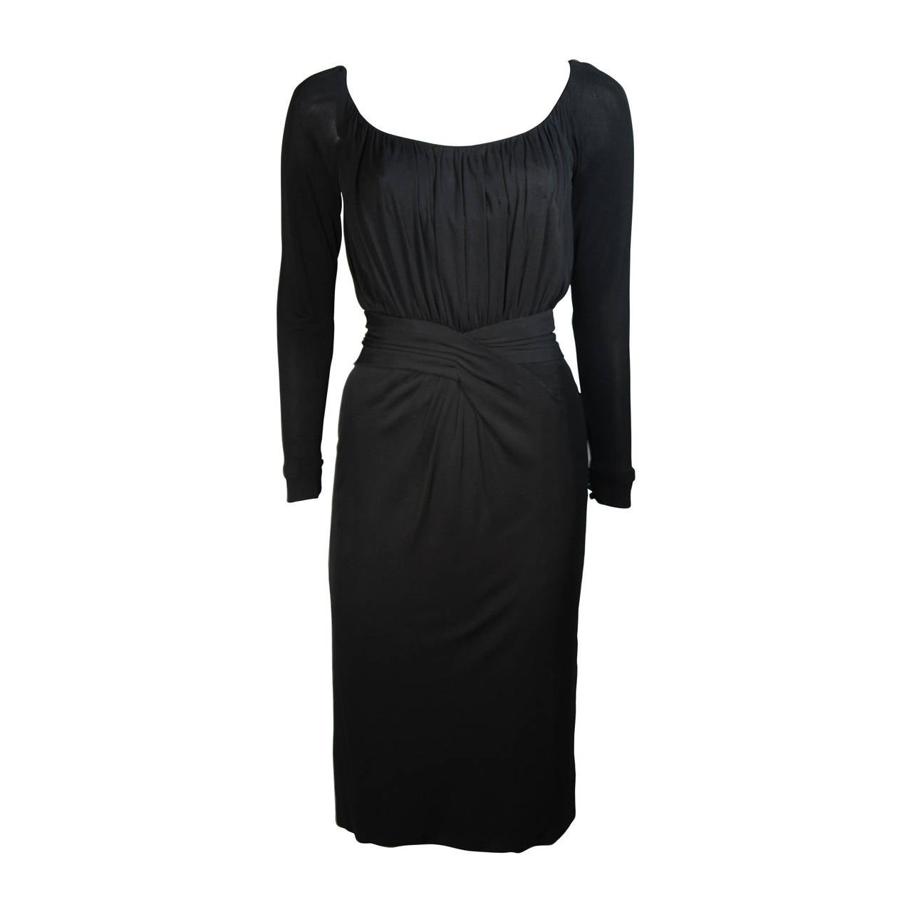 489fa9ea5ed Ceil Chapman Black Silk Crepe Cocktail Dress with Gathers Size 4-6 For Sale