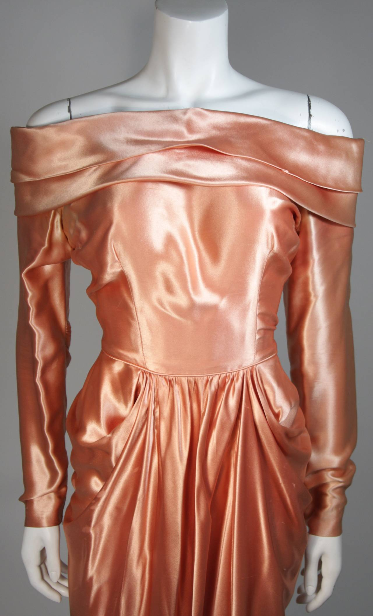 Brown Ceil Chapman Draped Silk Gown in a Peach Champagne Hue Size 4-6 For Sale