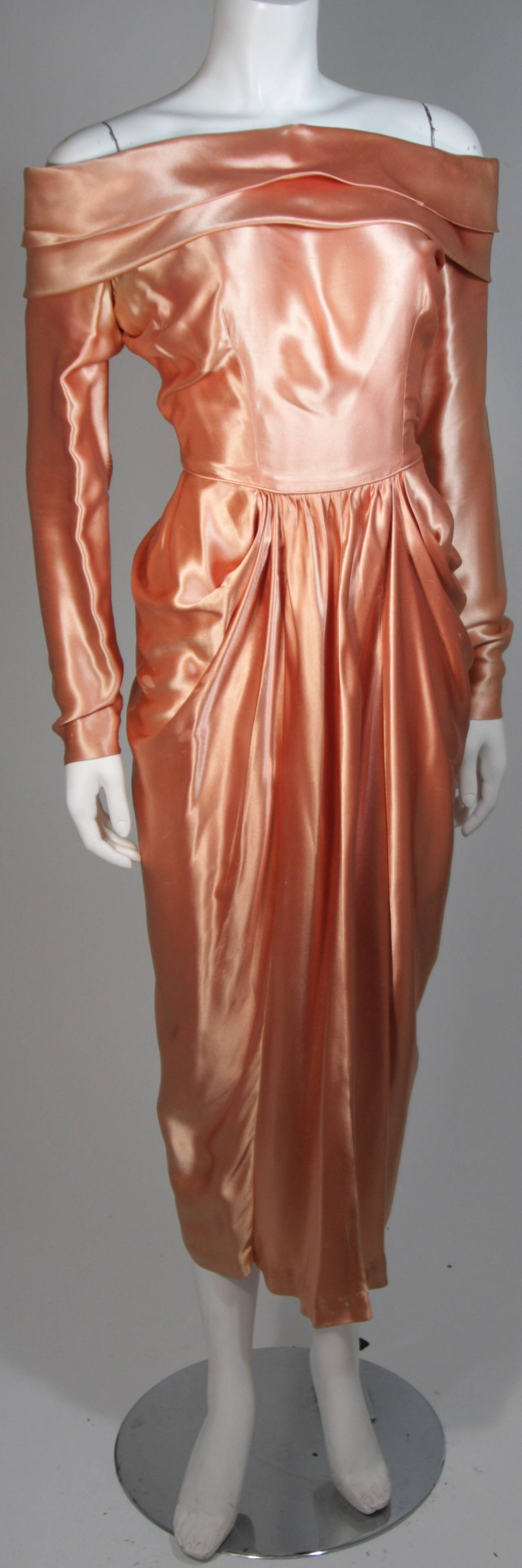 Ceil Chapman Draped Silk Gown in a Peach Champagne Hue Size 4-6 In Good Condition For Sale In Los Angeles, CA