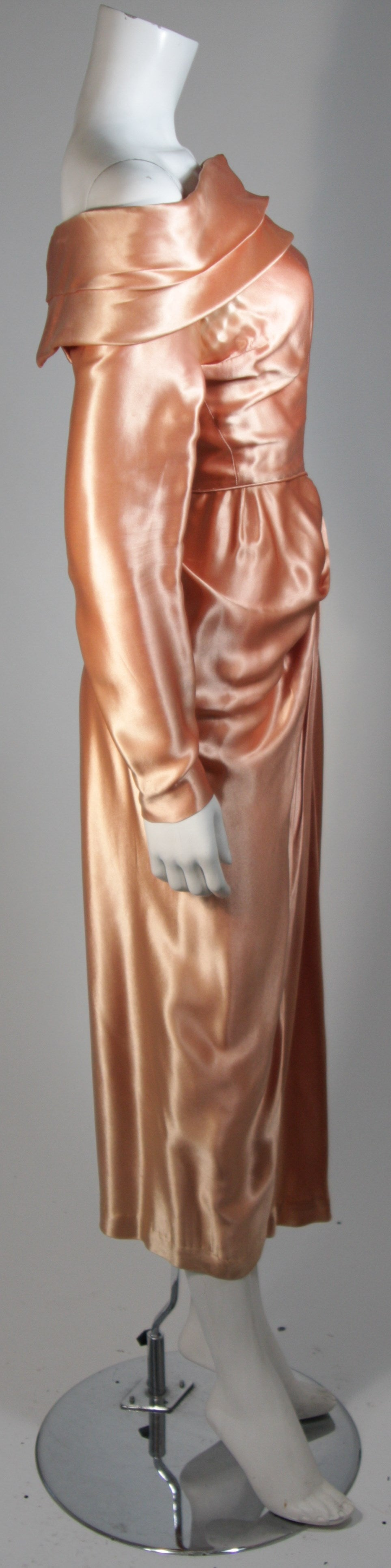 Ceil Chapman Draped Silk Gown in a Peach Champagne Hue Size 4-6 For Sale 1