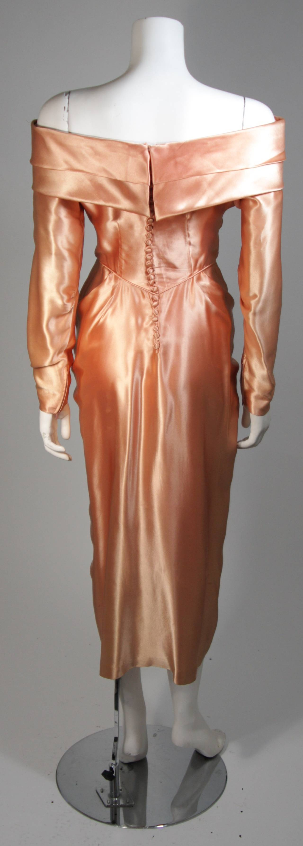 Ceil Chapman Draped Silk Gown in a Peach Champagne Hue Size 4-6 For Sale 3