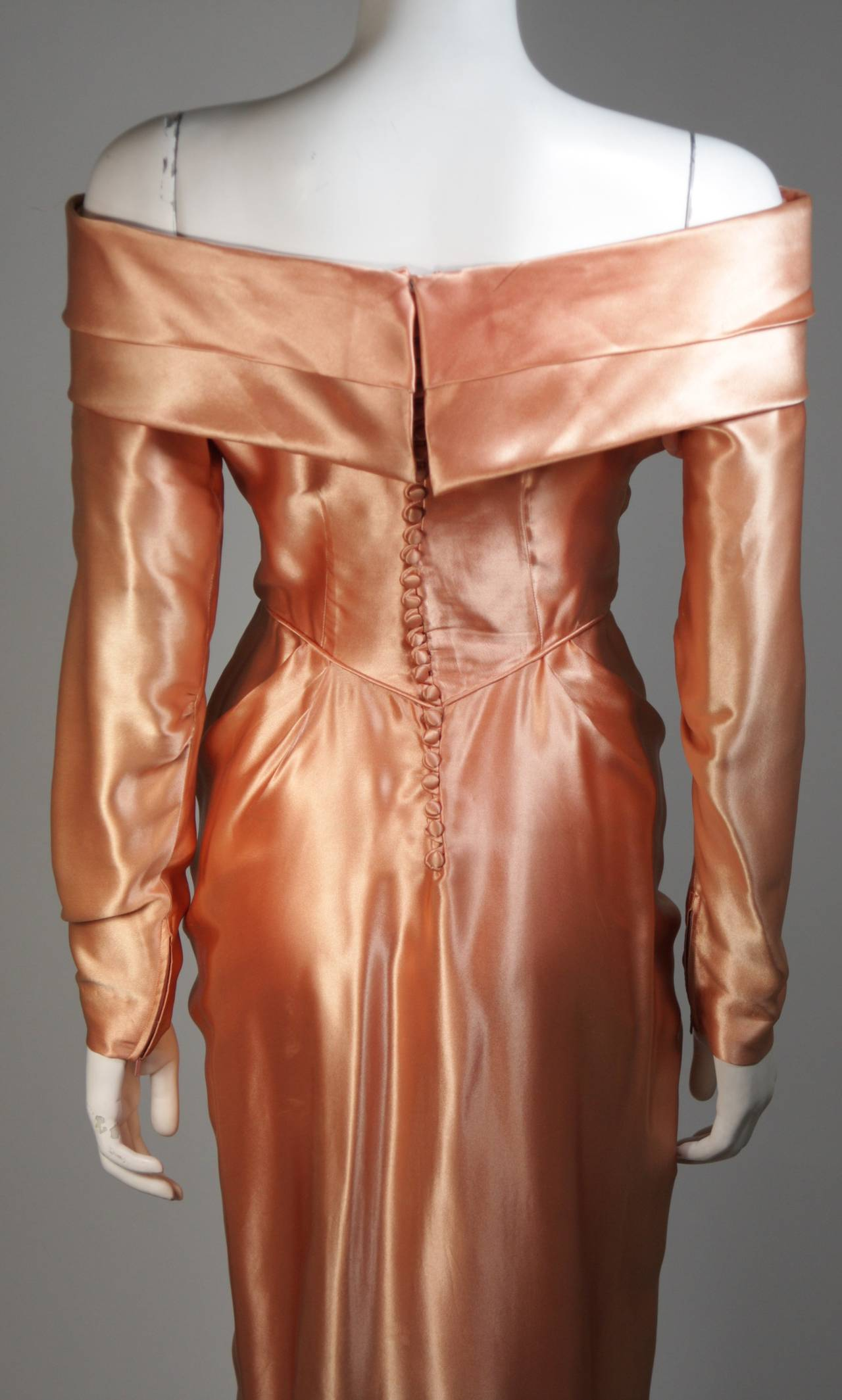 Ceil Chapman Draped Silk Gown in a Peach Champagne Hue Size 4-6 For Sale 4