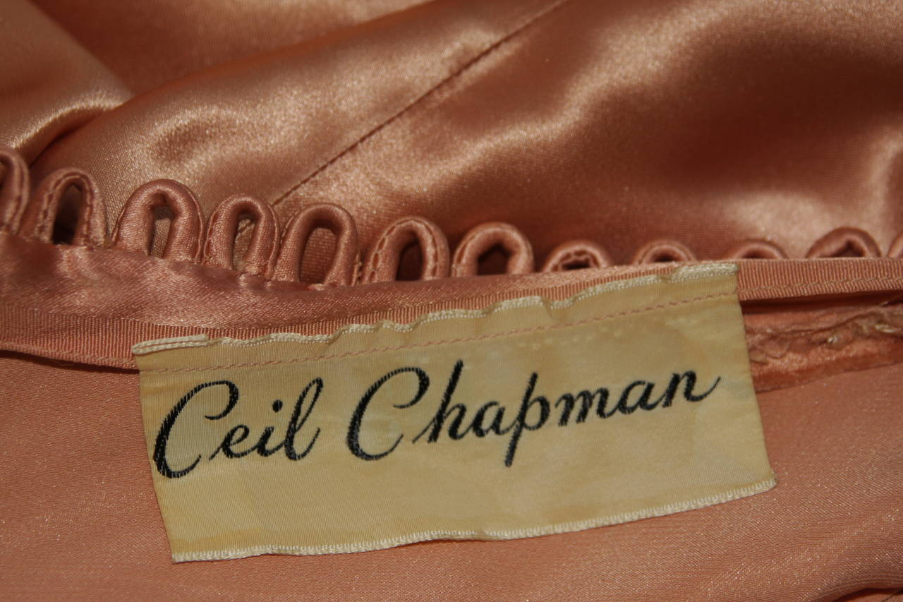 Ceil Chapman Draped Silk Gown in a Peach Champagne Hue Size 4-6 For Sale 5