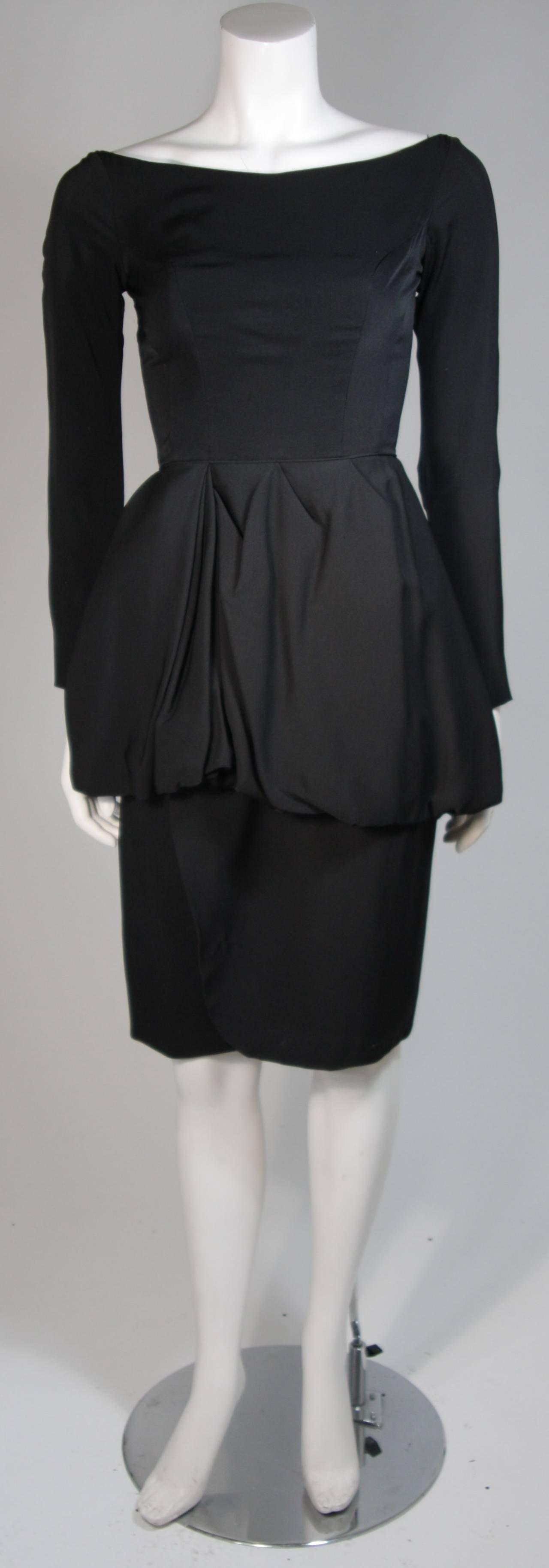 Ceil Chapman Black Draped Princess Seam Peplum Style Waist Dress Size XS 2