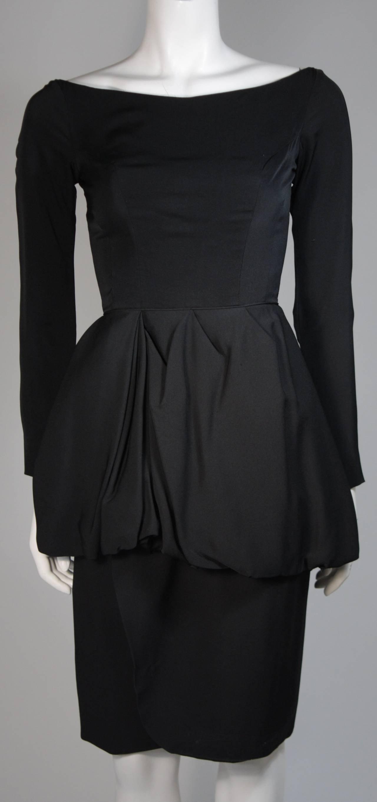 Ceil Chapman Black Draped Princess Seam Peplum Style Waist Dress Size XS 3