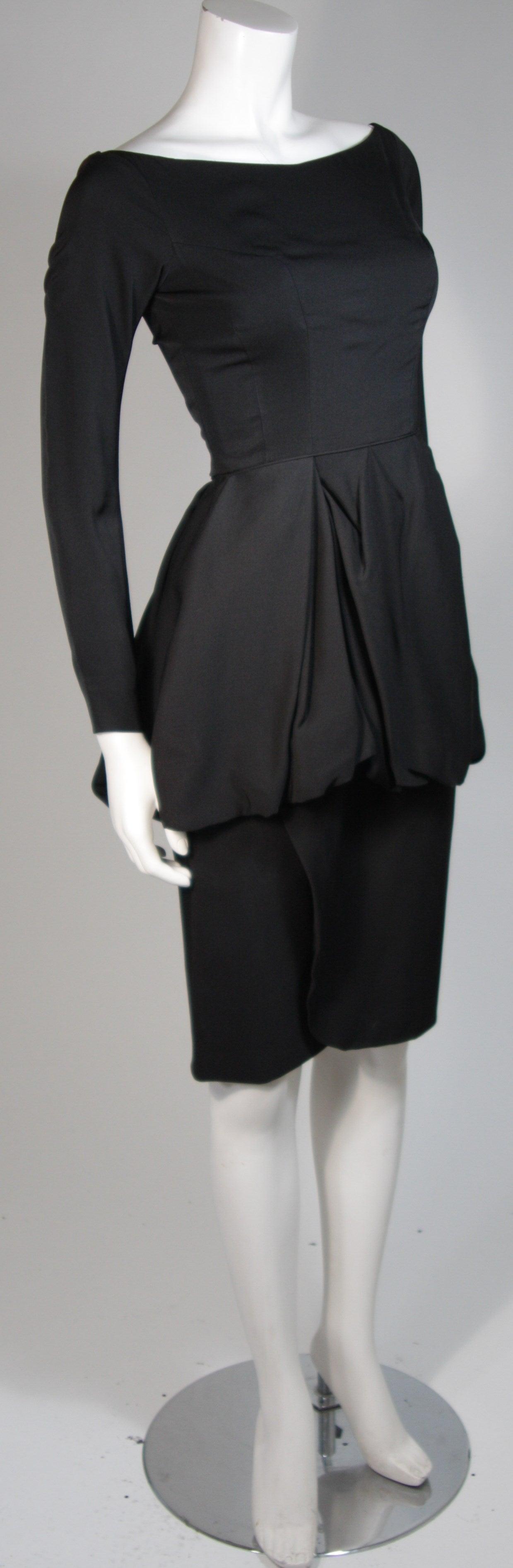 Ceil Chapman Black Draped Princess Seam Peplum Style Waist Dress Size XS 4