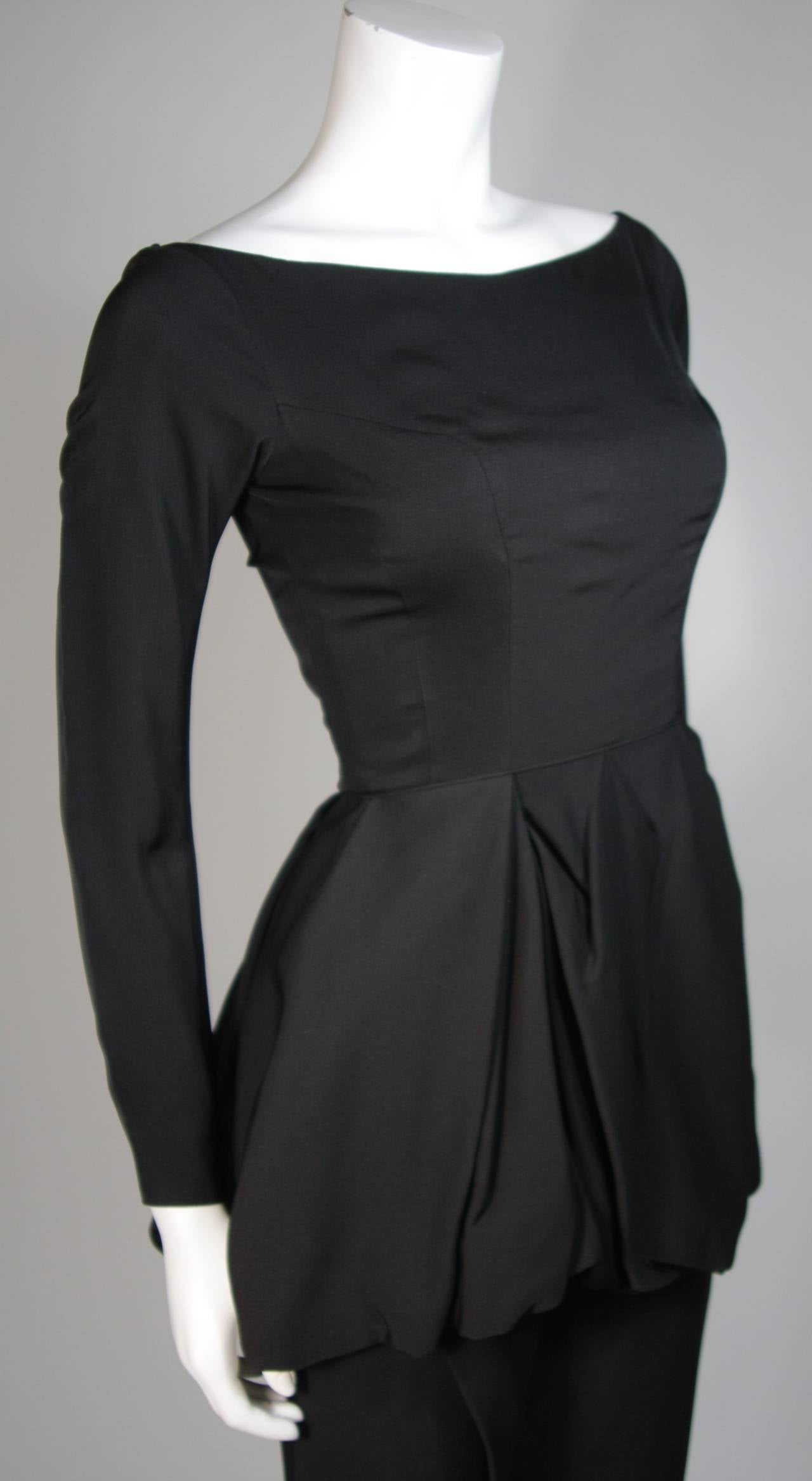 Ceil Chapman Black Draped Princess Seam Peplum Style Waist Dress Size XS 5