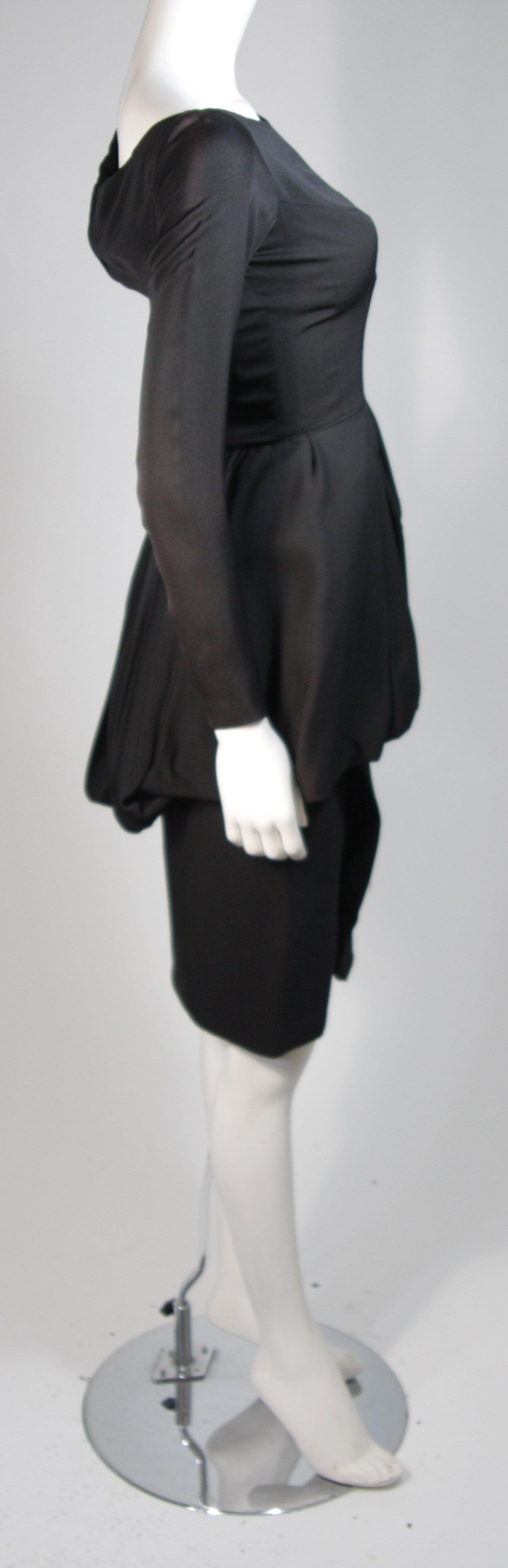 Ceil Chapman Black Draped Princess Seam Peplum Style Waist Dress Size XS 6