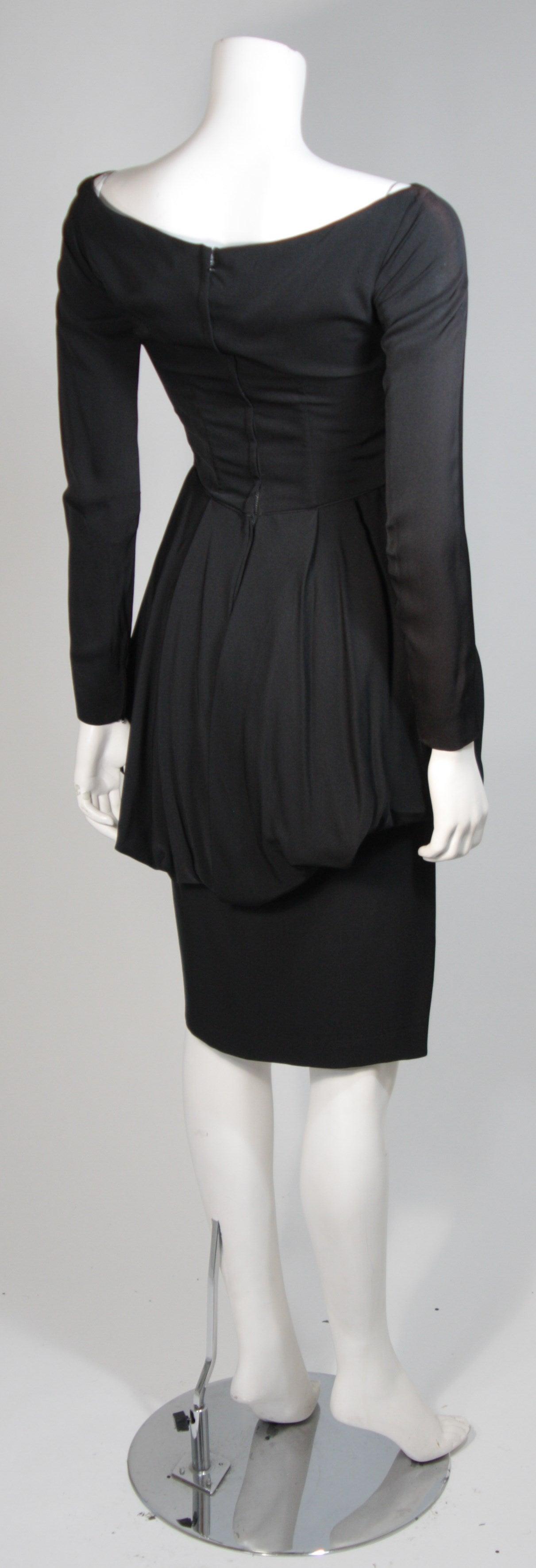 Ceil Chapman Black Draped Princess Seam Peplum Style Waist Dress Size XS 7